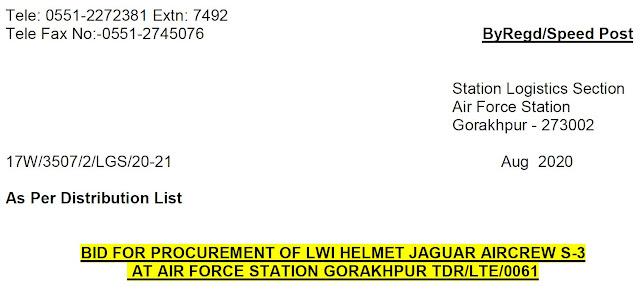 Light Weight Integrated - LWI Helmet - Jaguar - Indian Air Force - RFP - 01