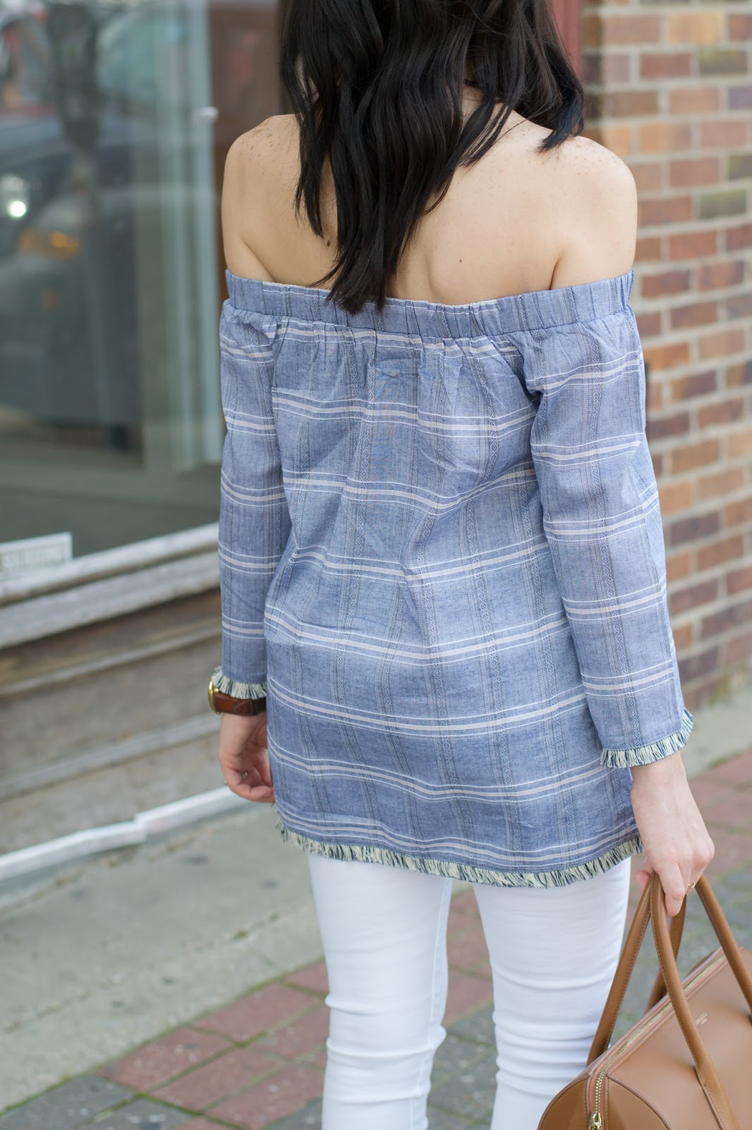 Chambray with white stripes, off the shoulder top