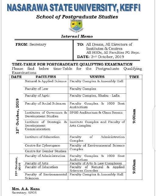NSUK Postgraduate Qualifying Examination Time-Table 2019/2020
