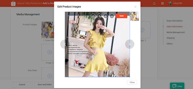 Shopee edit product image via desktop