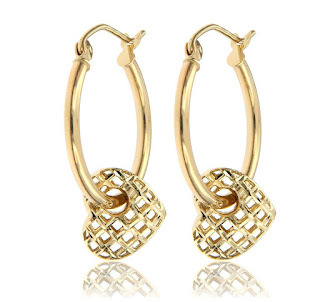 Valentine's day heart jewelry gold earrings