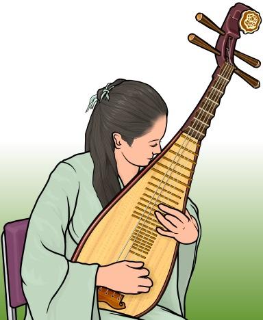 琵琶(Pipa ピーパ びわ)を演奏している女性のイラスト