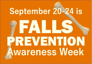 "Text ""September 20-24 is Falls Prevention Awareness Week"""