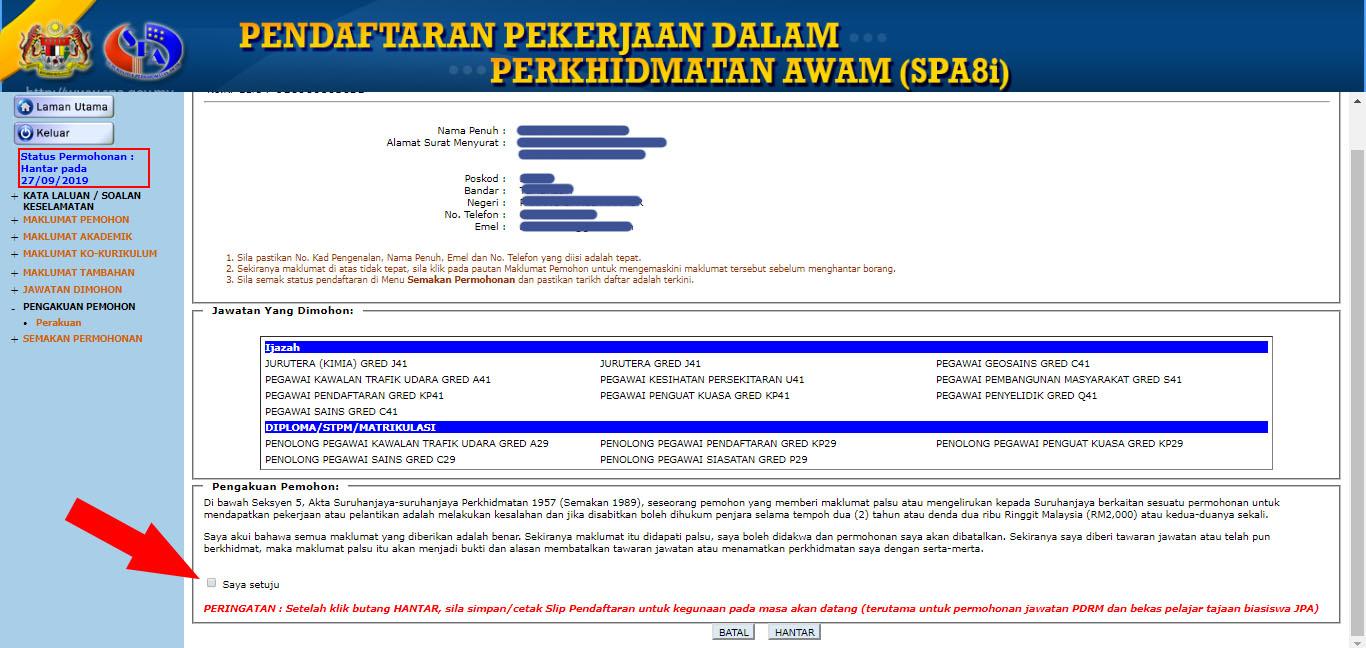 Semakan Status Permohonan Spa8 Lepasan Spm