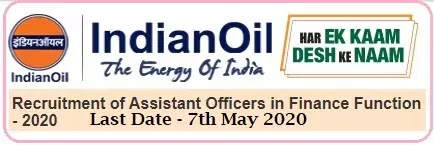 IOCL Assistant Officers Finance Recruitment 2020
