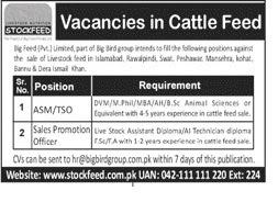 Vacancies in Cattle Feed Islamabad, Rawalpindi, Swat, Peshawar, Mansehra, Kohat, Dera Ismail Khan