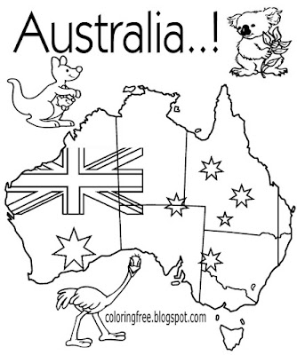 Easy native animal map of Australia printable Australian colouring for kids clipart flag to color in