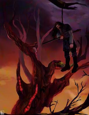 Odin autoinmolandose escena de la mitología nordica