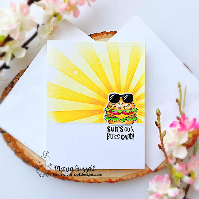 Summer Hamburger card by Maria Russell | Buns Out Stamp Set and Sunscape Stencil by Newton's Nook Designs #newtonsnook