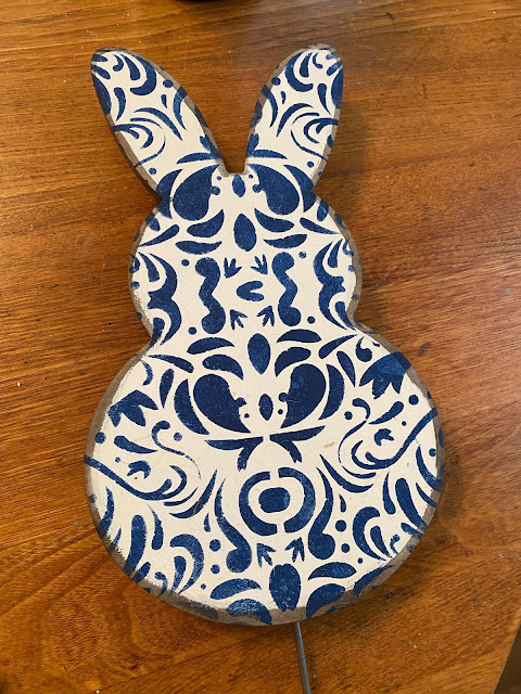 Photo of a painted & stenciled bunny shape