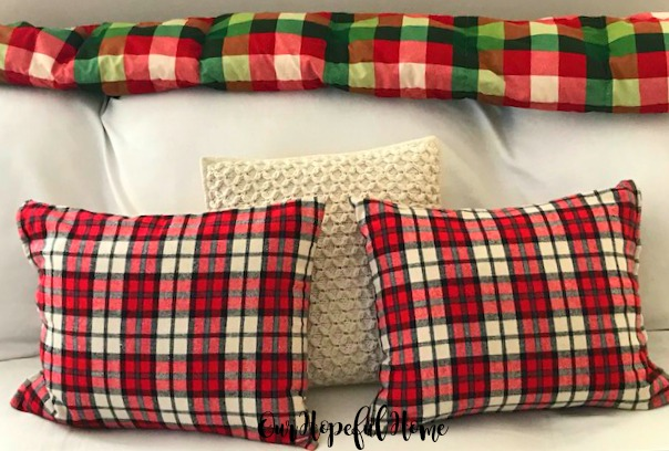 red check flannel gift sack DIY Christmas pillow cable knit pillow