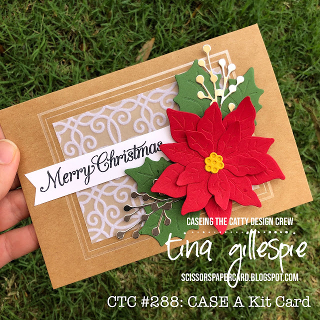 scissorspapercard, Stampin' Up!, CASEing The Catty, Poinsettia Petals Bundle, Plush Poinsettia SP, Itty Bitty Christmas, Magnolia Notecards, Stampin' Blends, Christmas Card