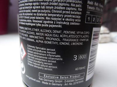 Goldwell Hair Lacquer lak na vlasy extra silné spevnenie ingredients