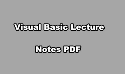 Visual Basic Lecture Notes PDF
