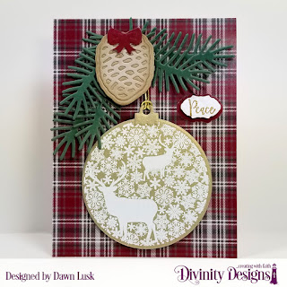 Stamp/Die Duos: Deer Ornament, Custom Dies: Pinecones & Pine Branches, Vintage Labels, Vintage Borders, Paper Collection: Rustic Christmas