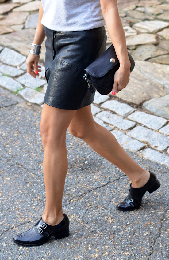 BLACK LEATHER SKIRT AND BROGUES
