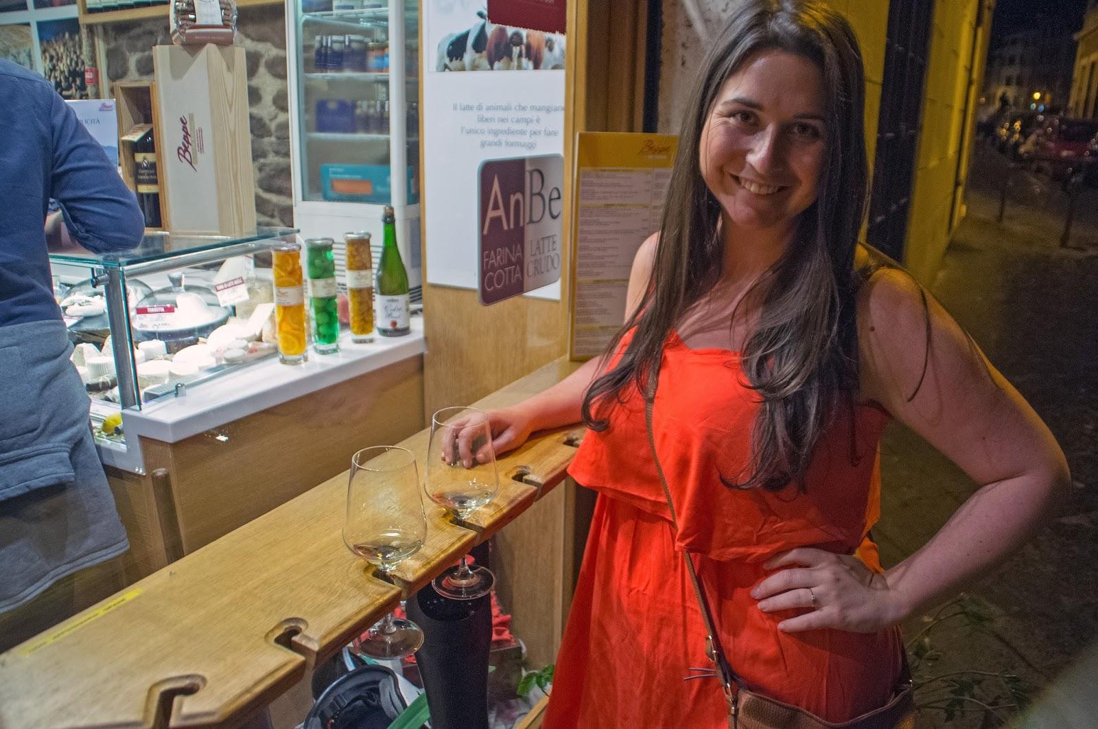 Simone enjoying wine on Secret Food Tour Rome