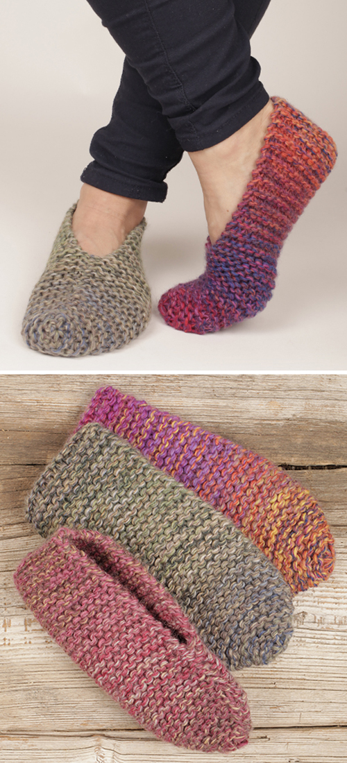 Knit Side Step Garter Stitch Slippers - Free Knitting Pattern