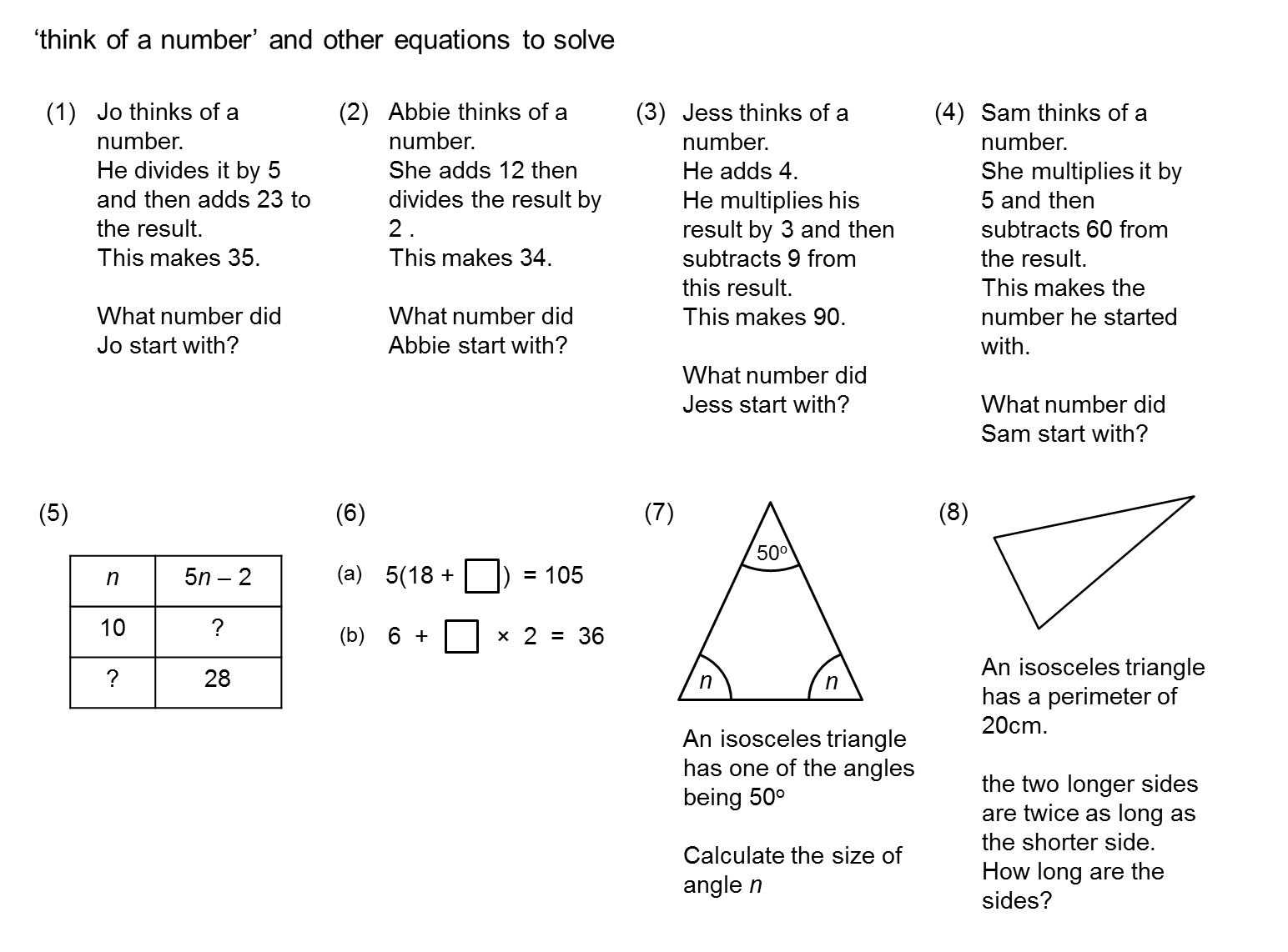Forming And Solving Quadratic Equations Exam Questions