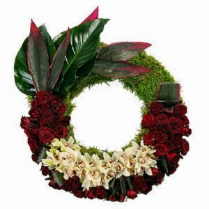White and Red Flowers Wreath