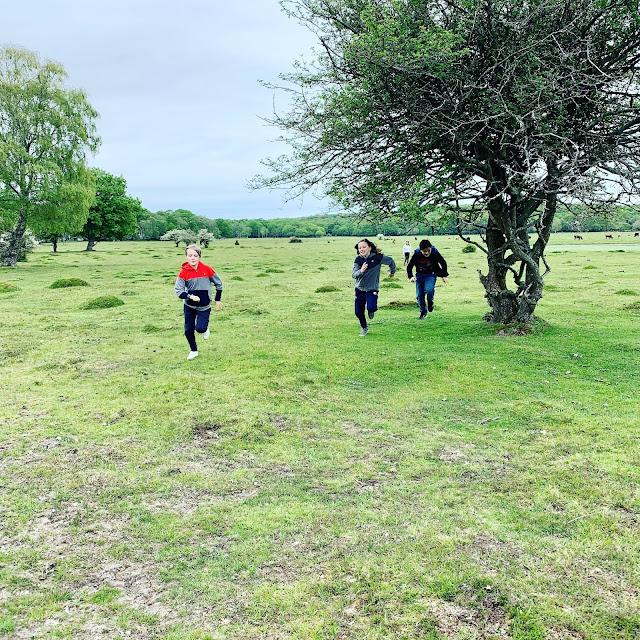 children running in New Forest