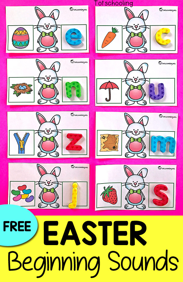 FREE Easter themed beginning letter sound cards, perfect for a literacy center in pre-k or kindergarten. Use magnetic letters, letter tiles, or simply have kids write the letter for each initial sound.