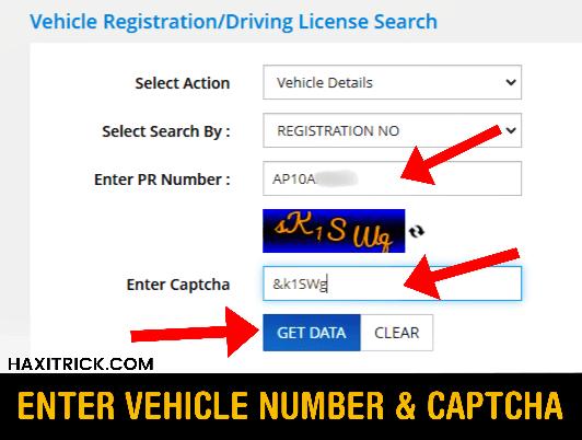 Enter Vehicle Registration Number and Captcha