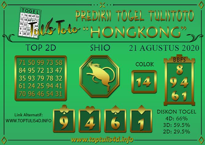 Prediksi Togel HONGKONG TULISTOTO 21 AGUSTUS 2020