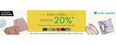 Rabu Serbu Diskon 20% Bank Bukopin - Hijabenka