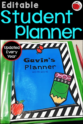 editable student planner Terri's Teaching Treasures