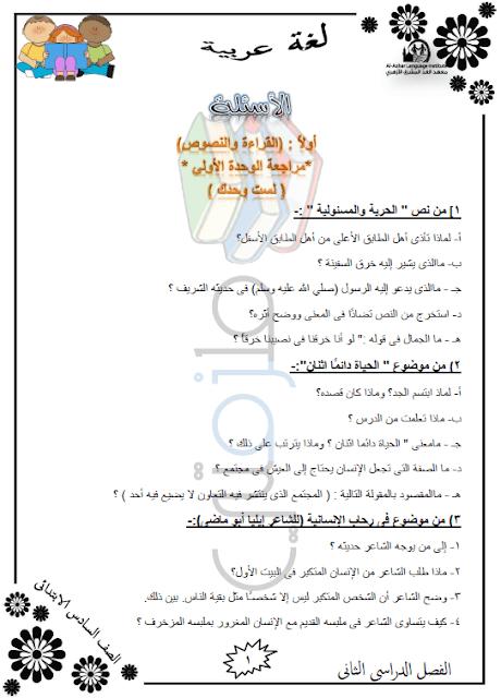 المراجعة النهائية لغة عربية للصف السادس الإبتدائي