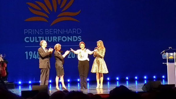 Queen Maxima of The Netherlands presents the award from the Prince Bernhard Culture Price 2015 (Prince Bernhard Culture Fund) at the Muziektheater