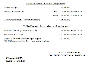 Anna univ pg april may june exam 2013 practical dates