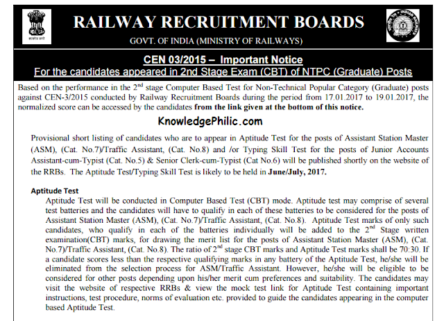 Railway RRB  NTPC to release Provisional List of candidates for Aptitude Test and Typing Skill Test (official Notice)