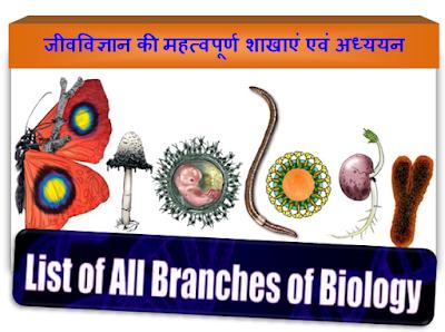 जीवविज्ञान की महत्वपूर्ण शाखाएं एवं अध्ययन | list of branches of biology | Biology GK | Gyaani Ram