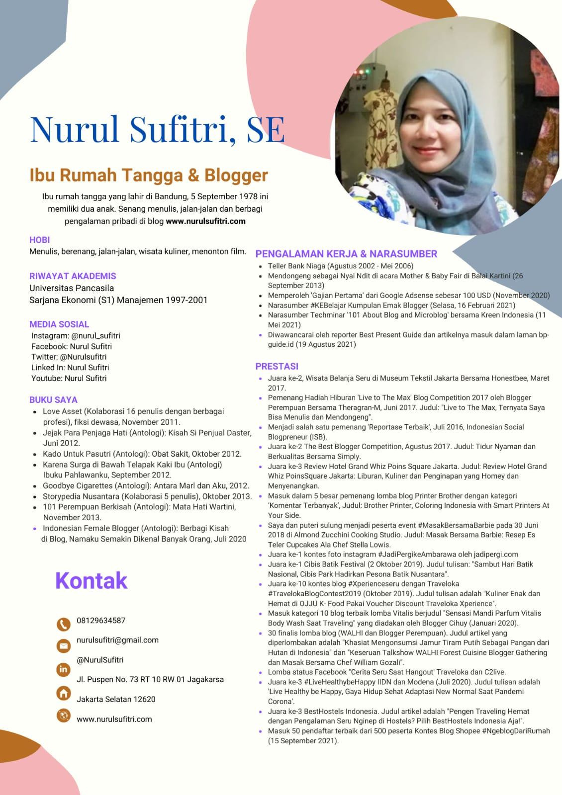 Portfolio Curriculum Vitae Nurul Sufitri Travel Lifestyle Blog