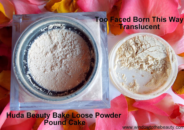 Too Faced translucent vs Huda beauty pound cake powder review and swatches