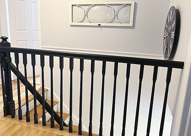 top railings in the home painted black