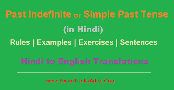 Simple Past or Past Indefinite Tense in Hindi - Rules | Examples | Exercises | Sentences
