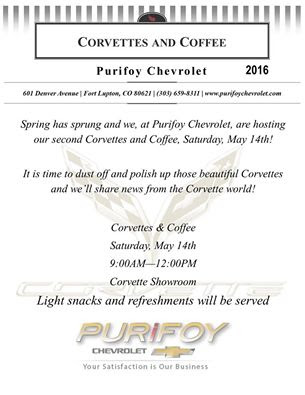 Purifoy Chevrolet Corvettes and Coffee May 14