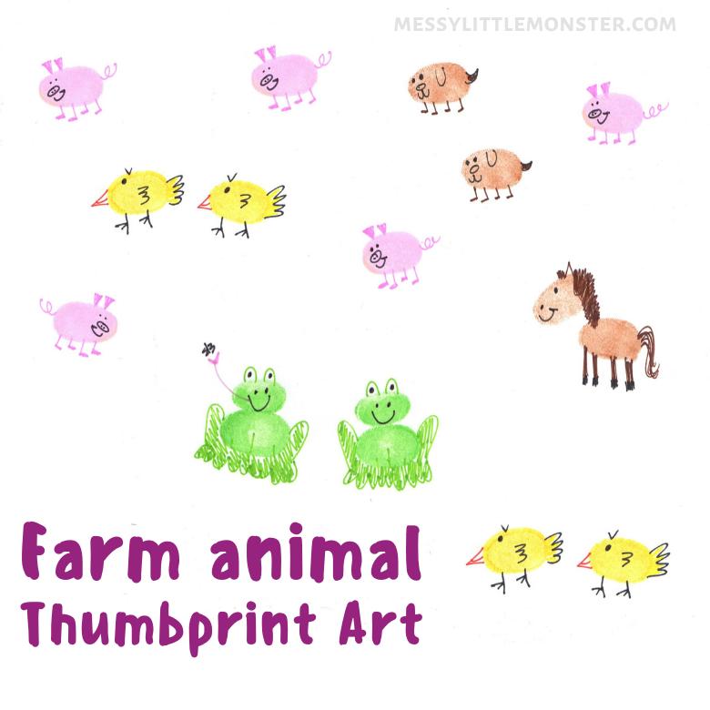 farm animal thumbprint art