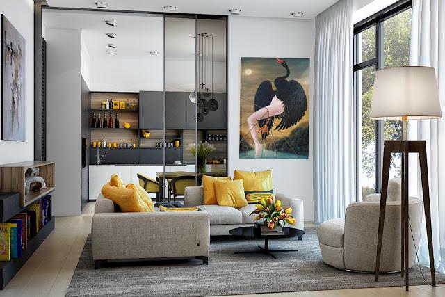 Gaudifond Arte: diseño de interiores con una obra de arte surrealista de Gervasio Gallardo