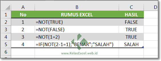 Contoh Fungsi NOT Excel