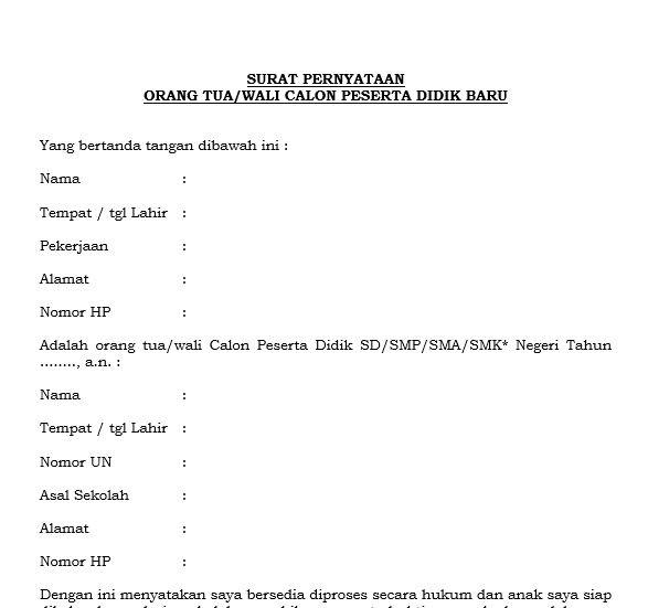 34+ Contoh surat pernyataan orang tua untuk ppdb 2021 terbaru terbaru