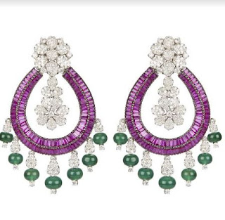 Diamond long earrings with emeralds and rubies available at Inaaya by Deepa & Suhail Mehra