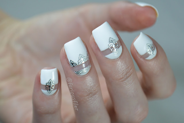 white negative space bridal miss cat nails stickers