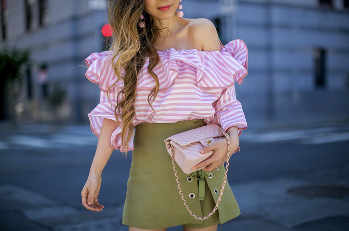 off shoulder stripe top, olive lace up shorts, storets on me, storets off shoulder top, lace up shorts, baublebar earrings, chanel classic flap bag, peep toe ankle booties, summer outfit ideas, san francisco fashion blog, san francisco street style