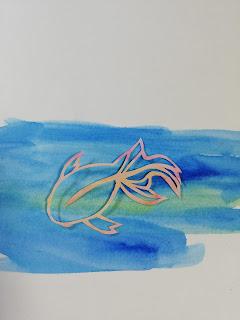 水彩絵の具で輪郭を彩色した切り絵(濃い背景)