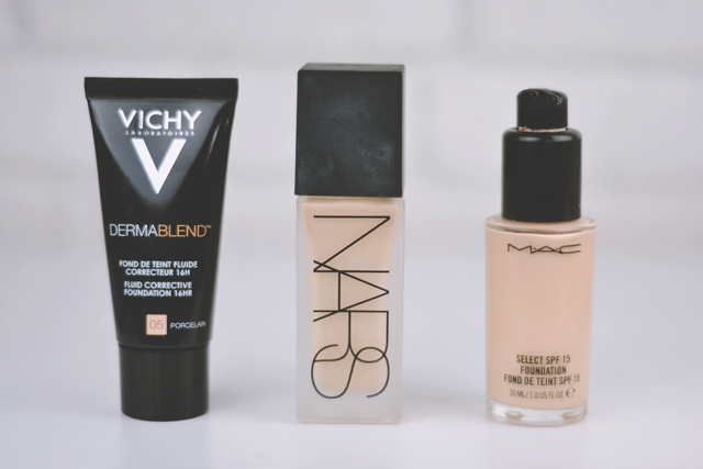 Vichy Dermablend Foundation vs NARS Weightless Luminous vs MAC Select SPF