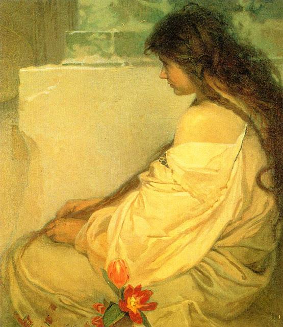 Альфонс Муха - Девушка с распущенными волосами и тюльпанами. 1920